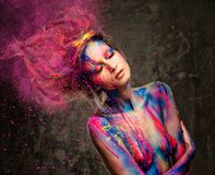 Musa de la mujer con arte de cuerpo Imagen de archivo libre de regalías