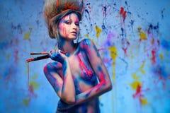 Musa della donna con body art Immagine Stock Libera da Diritti