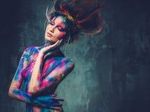 Musa della donna con body art Immagini Stock Libere da Diritti