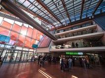 `-MUSA`en är museet av vetenskap i Trento planlade vid den italienska arkitekten Renzo Piano Arkivbild