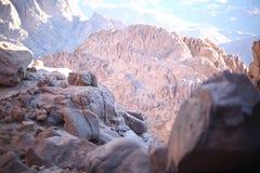 Musa mountain chains receiving golden sunshine. Taken from 3500m hight, Sinai, Egypt Royalty Free Stock Image