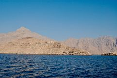 Musandam, Oman view to mountains and water stock photography