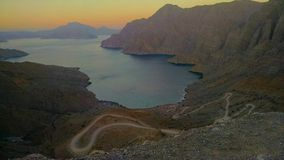 Musandam PIC (Oman). Look at the roads.   Adventurous rite Royalty Free Stock Images