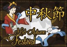 Musardez le ` e et Jade Rabbit de Chang de ` de déesse pour célébrer le festival de Mi-automne, illustration de vecteur illustration stock