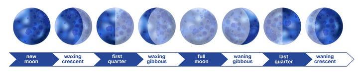 Musardez le PS de phases de lune d'astronomie et de nature d'espace de nuit d'icône de phases illustration libre de droits