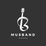 Musband logo. Guitar logo, with the transition to the letter B Royalty Free Stock Photography