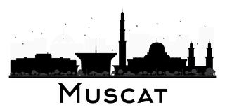 Muscat City skyline black and white silhouette. Stock Photo