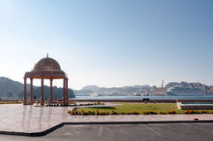 Muscat Corniche, docking site for cruise ships, Capital of Oman. View of Mutrah corniche with Souk behind it Stock Photo