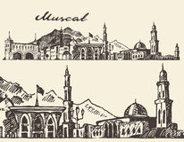Muscat engraved illustration hand drawn sketch Royalty Free Stock Photo
