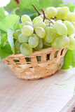 Muscat grapes in a wicker basket on the board Royalty Free Stock Photo