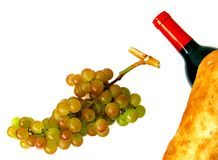 Muscat grapes, wine bottle and loaf of bread Royalty Free Stock Photo