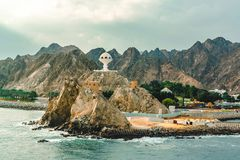 Muscat, Oman - December 16, 2018: view of the Riyam Park Monument from the sea stock photo