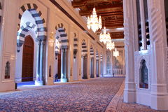 MUSCAT, OMAN - FEBRUARY 9, 2012: The prayer room at Sultan Qaboos Grand Mosque in Muscat Royalty Free Stock Photography