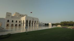 Royal Opera House Muscat. Muscat, Oman - February, 2019: Royal Opera House Muscat. Camera movement near the building, building details inside and outside stock footage
