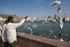 MUSCAT/OMAN am 15. Januar 2007 - indische Migranten ziehen Möven in MU ein Stockfotografie