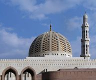 Muscat, Oman, January 8 2014: Dome and Minaret of the Great Mosque in Muscat royalty free stock image