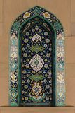 Sultan Qaboos Grand Mosque in Muscat, Oman. MUSCAT, OMAN - NOVEMBER 30, 2017: mosaic decorations with Persian Kashi design in Sultan Qaboos Grand Mosque in Stock Photography