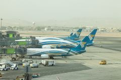 Muscat, Oman, picture dated 31 September 2018 Muscat new airport with Oman air planes. Muscat, Oman, picture dated 31 September 2018 Muscat Oman air planes stock photo