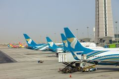 Muscat, Oman, picture dated 31 September 2018 Muscat new airport with Oman air planes. Muscat, Oman, picture dated 31 September 2018 Muscat Oman air planes royalty free stock image