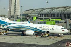 Muscat, Oman, picture dated 31 September 2018 Muscat new airport with Oman air planes. Muscat, Oman, picture dated 31 September 2018 Muscat Oman air planes stock images
