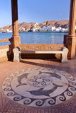 MUSCAT, OMAN: The sidewalk decorated with dolphins in Muttrah Stock Images