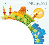 Muscat Skyline with Color Buildings, Blue Sky and Copy Space. Vector Illustration. Business Travel and Tourism Concept with Historic Architecture Vector Illustration