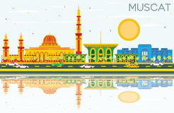 Muscat Skyline with Color Buildings, Blue Sky and Reflections. Vector Illustration. Business Travel and Tourism Concept with Historic Architecture. Image for Royalty Free Illustration