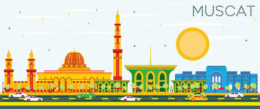 Muscat Skyline with Color Buildings and Blue Sky. Vector Illustration. Business Travel and Tourism Concept with Historic Architecture. Image for Presentation Royalty Free Stock Photos