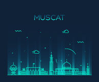 Muscat skyline trendy vector illustration linear Stock Image
