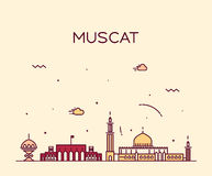Muscat skyline trendy vector illustration linear Royalty Free Stock Photos