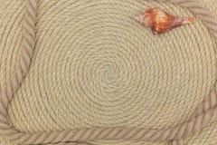 Muschel und Marinenetz liegen auf dem Hintergrund, der vom Seil gemacht wird Stockbilder