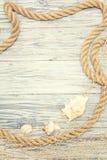 Muschel und Seil auf einem hellen hölzernen Hintergrund Lizenzfreies Stockfoto
