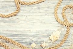 Muschel und Seil auf einem hellen hölzernen Hintergrund Stockfoto