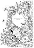 Muschelgrenzrahmen, Ozeanmuster Vektorweinleseillustration Zentangle Malbuchseite für Erwachsenen Hand gezeichnet Stockfotografie