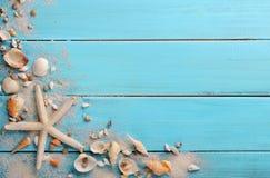 Muscheln auf Holz Stockfotos