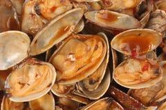 Muscheln mit Chili Paste Stockfotos