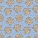 Muscheln und Streifen auf dem blauen Hintergrund nahtlos stockfotografie