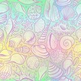 Muscheln vector nahtloses Muster auf dem holograram Hintergrund Stockfoto