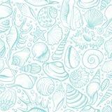 Muscheln vector nahtloses Muster Blaue Linie Hintergrund Lizenzfreie Stockbilder