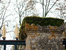 Muschio e Lichen Covered Stone Fencepost Immagini Stock