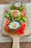 Muschrooms cocidos con queso verde foto de archivo libre de regalías