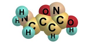 Muscimol δομή που απομονώνεται μοριακή στο λευκό Στοκ φωτογραφία με δικαίωμα ελεύθερης χρήσης