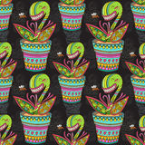 Muscipula flower pattern Royalty Free Stock Images