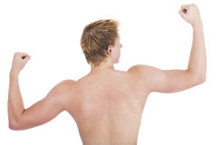 Muscle. Caucasian male showing off his muscle Stock Photos