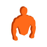Muscle body, Bodybuilding, Fitness symbol. Flat Isometric Icon or Logo. 3D Style Pictogram for Web Design, UI, Mobile App, Infographic. Vector Illustration on Royalty Free Stock Images