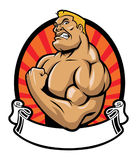 Muscle bodybuilder. Vector of muscle bodybuilder with blank ribbon Stock Images