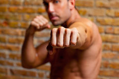 Muscle boxer shaped man fist to camera. On brickwall Stock Images