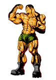 Muscle brutal man big biceps. Illustration, color, isolated on a white Stock Image
