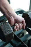 Muscle building. Man building muscle with weights Royalty Free Stock Image