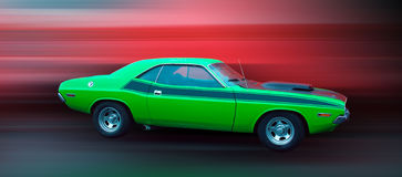 Muscle Car. Green classic American Muscle Car with black stripe Royalty Free Stock Images